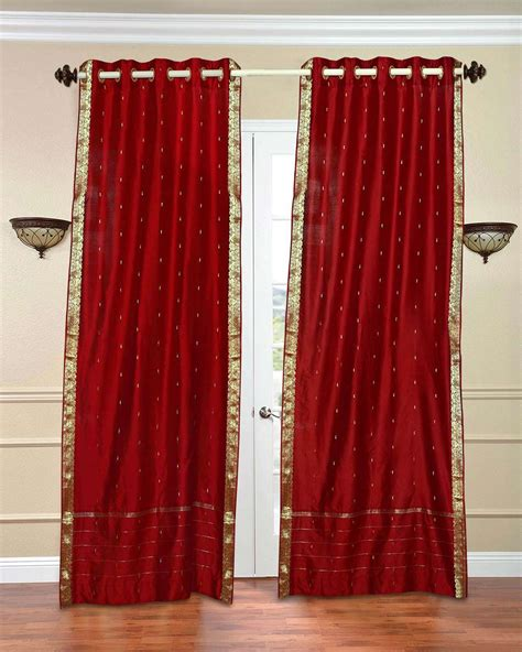 red sheer curtain panels red ring top sheer sari curtain drape panel piece ebay