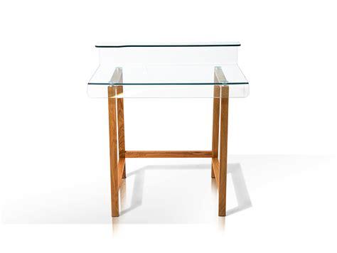 Millar Schreibtisch Beistelltisch Klarglas Massivholz