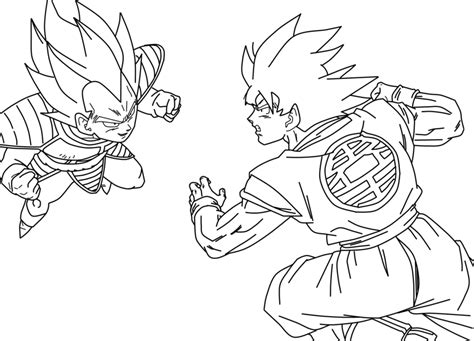 goku vs vegeta coloring pages games goku vs vegeta lineart by daresx on deviantart