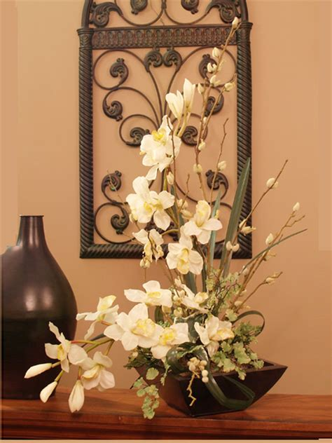 flower arrangements home decor cymbidium soft silk orchid arrangement o114 73 floral home decor silk flowers silk flower