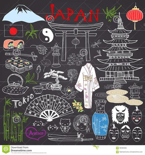 doodle 4 japan japan doodles elements sketch set with