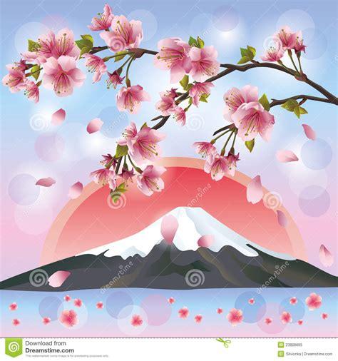 imagenes de flores japonesas paisagem japonesa com montanha e sakura foto de stock