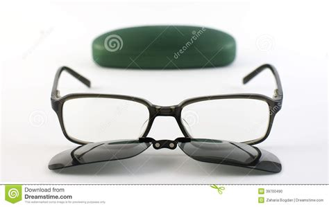New Colection Frame Stacco Clip On Lensa glasses with sunglasses magnetic clip next to its stock photo image 39700490