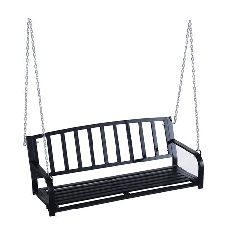 2 person porch swing outsunny 2 person outdoor porch swing bench black pop
