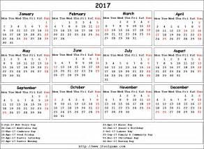 2016 And 2017 Calendar 2017 Calendar With Holidays Usa