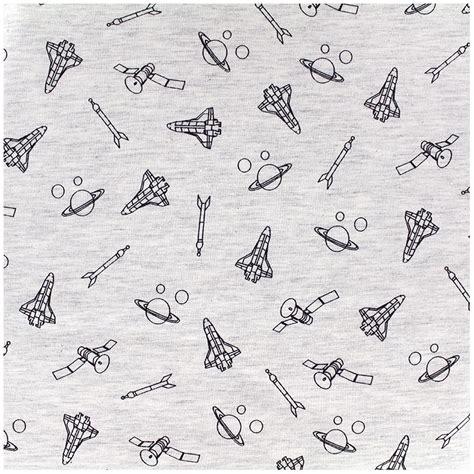 Popy Outer poppy jersey fabric outer space mocked ecru x 10cm ma