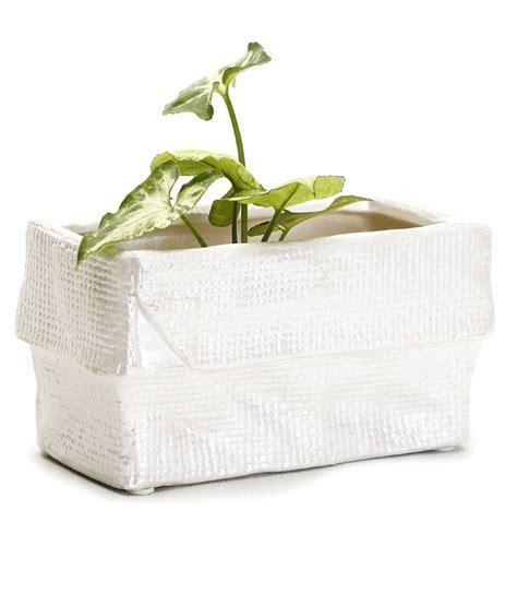 White Ceramic Rectangular Planter by Aapno Rajasthan Crumpled Look White Rectangular Planter