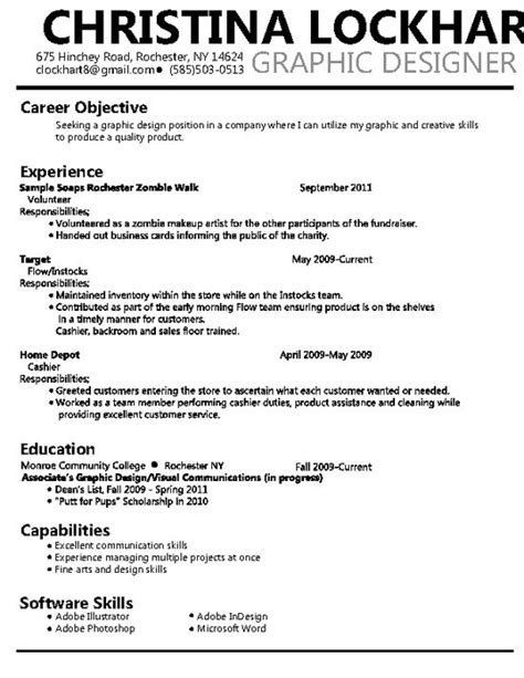 Graphic Designer Resumes Sles by Graphic Design Objective Resume Resume Ideas