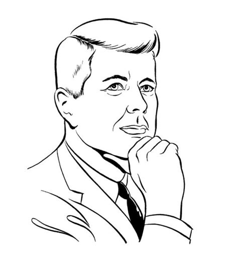 John F Kennedy Coloring Sheet Coloring Pages Template Jfk