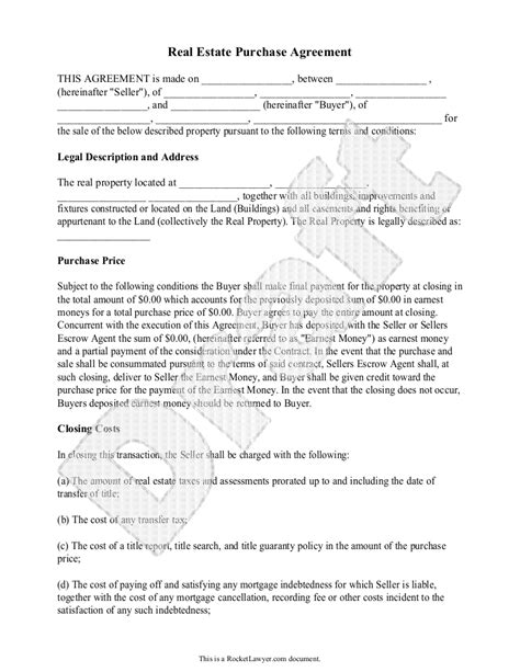 Real Estate Purchase Agreement Form Free Templates With Sle Free Purchase Agreement Mortgage Sales Contract Template