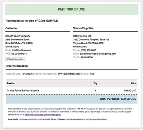 gravity form templates invoices added to customer account page gravity forms