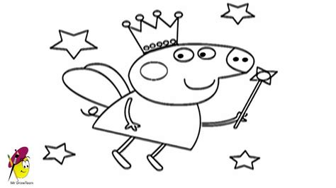 peppa pig fairy coloring pages peppa pig fairy how to draw peppa pig fairy youtube