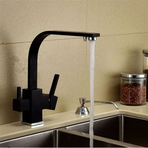 Black Kitchen Sinks And Taps Luxury Square Style Matte Black Kitchen Faucet Longreach Sink Mixer 3 Way Water Filter Tap
