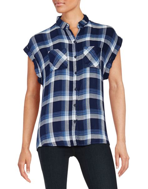 lunch lounge plaid button front top in multicolour lyst