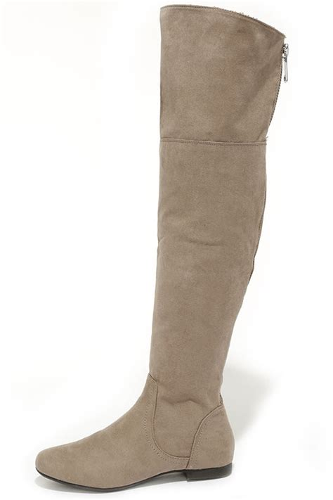 taupe boots the knee boots flat boots 41 00
