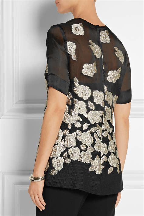 Ghivenchy Rosblack New lyst cap sleeve raised floral peplum blouse in
