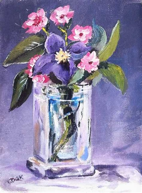 Acrylic Painting Of Flowers In A Vase by Purple Flower In Glass Vase Acrylic Painting Lessons For