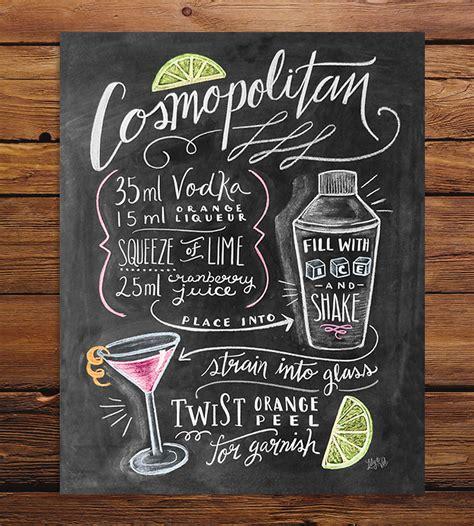 cosmopolitan drink quotes cosmopolitan recipe chalkboard art print chalkboards
