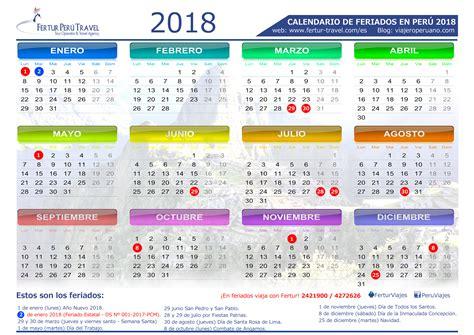 Peru Calendario 2018 Calendario 2018 Per 250 Con Feriados Descargar En Pdf Y Jpg