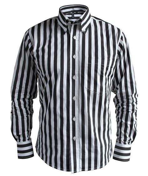 Button Collar Striped Shirt mens stripe black white button collar tailored