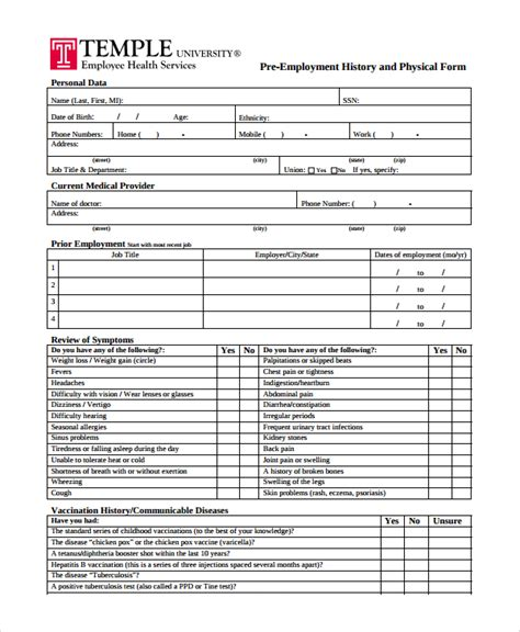9 Sle Physical Exam Forms Pdf Sle Templates Physical Form For Work Template