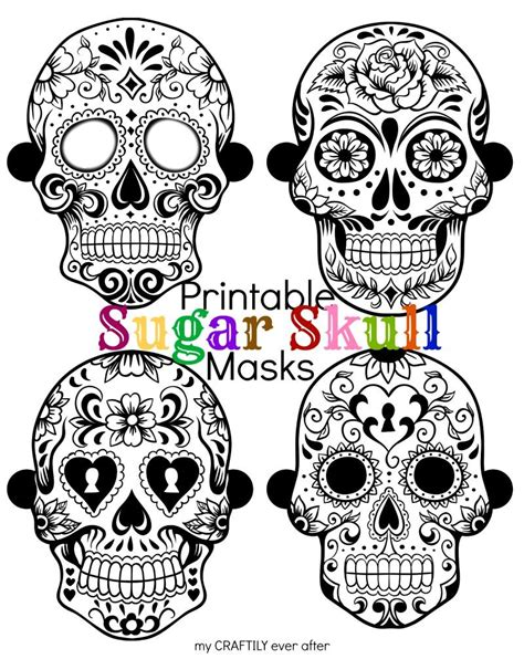 day of the dead skull mask template printable sugar skull masks skull mask sugar