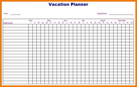Vacation Schedule Template vacation yearly calendar calendar template 2016