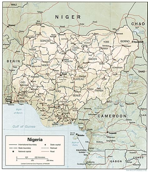 a map of nigeria showing roads and railways
