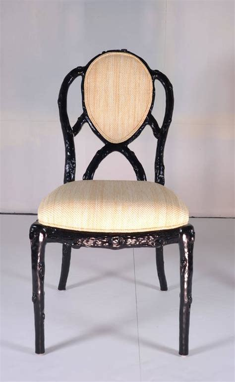 Black Lacquer Dining Room Chairs by Set Of Eight Faux Bois Dining Chairs In Black Lacquer For