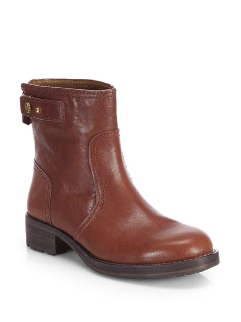 burch boots burch selena leather ankle boots in brown java lyst