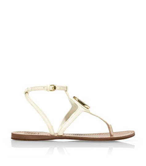 ivory flat sandals burch leticia flat sandal in beige ivory lyst