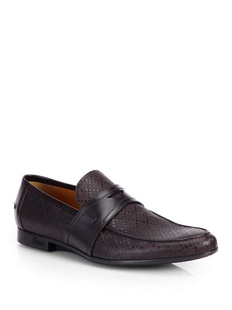 gucci moccasin loafers gucci leather moccasin loafer in brown for lyst