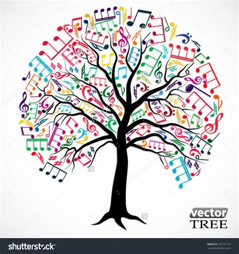musical tree coloured note clipart 70