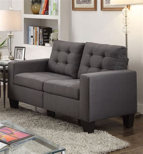 tufted loveseat gray ealdun contemporary button tufted sofa loveseat in gray