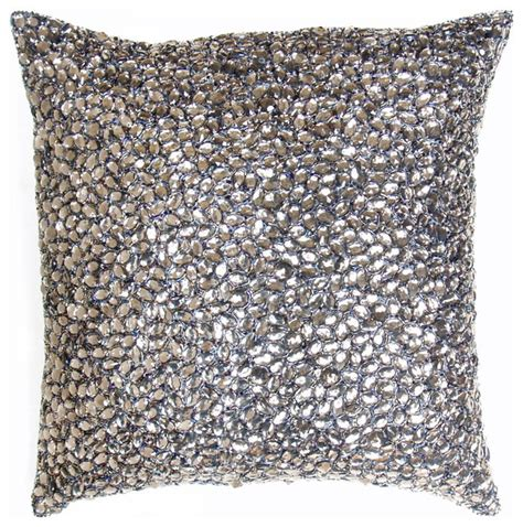 Bead Pillow by Grey Jeweled Beaded Pillow 10x10 Modern