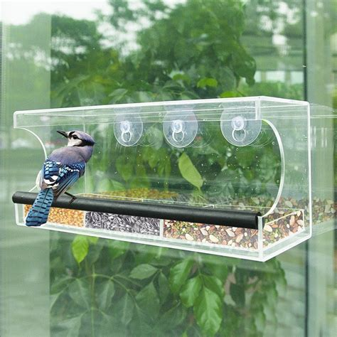 hicollie large window bird feeder clear removable tray