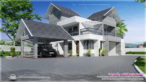 sloping roof house designs modern sloping roof luxury house home kerala plans