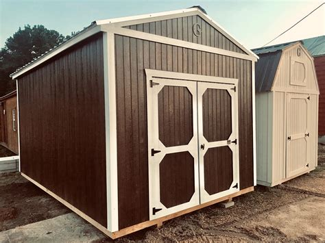 utility shed chestnut brown white trim