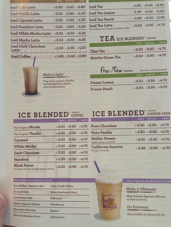 menu picture of the coffee bean & tea leaf, cologne