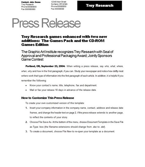 news release template press release template template sle