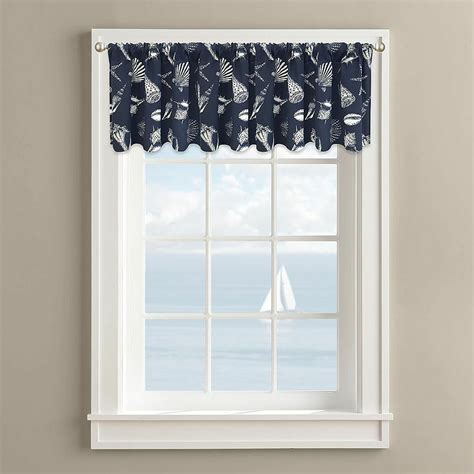 nautical valances nautical seashell starfish window valance coastal design navy 60 quot x 14 quot new ebay