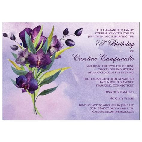 orchids and watercolor 95th birthday 75th birthday invitation purple orchids green foliage watercolors