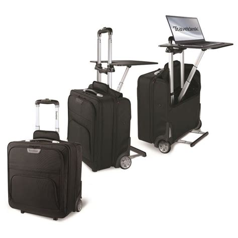 Stebco Wheeled Mobile Office Travel Desk Black Travel Desk For