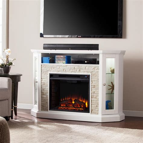 Bellingham 52 25 In W Corner Convertible Media Electric White Fireplace Tv Stand