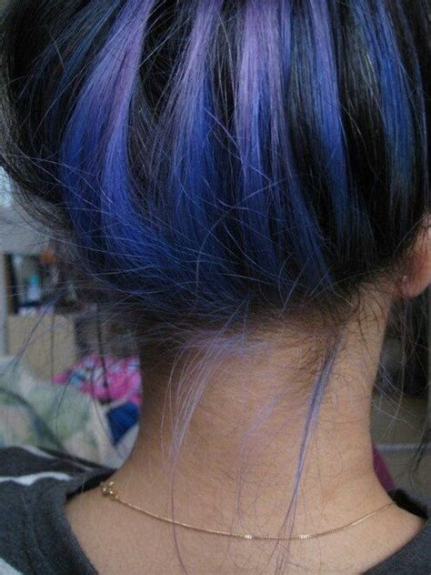 color underneath hairstyles blue highlights hair pinterest