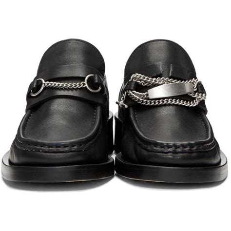 lyst maison margiela black chain loafers in black for