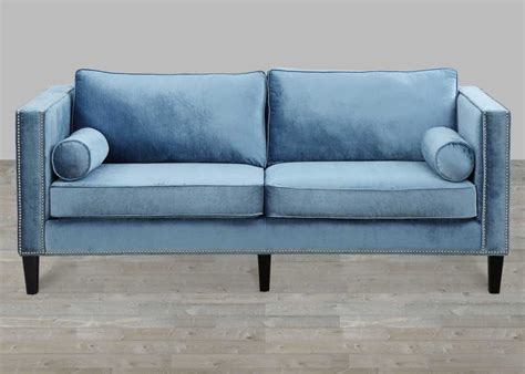 blue velvet sofa living blue velvet sofa with nailheads