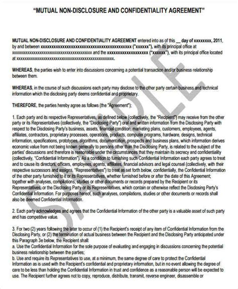 financial non disclosure agreement template 9 financial confidentiality agreements free sle