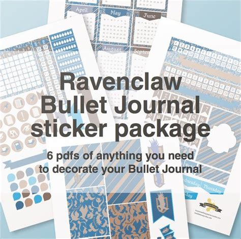 printable stickers for bullet journal ravenclaw bullet journal stickers package a4 printable