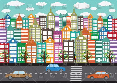 colorful city colorful city buildings vector clipart image